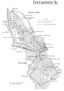 Layout of Limerick City circa the time of the Sieges of Limerick, 1690 - 1691
